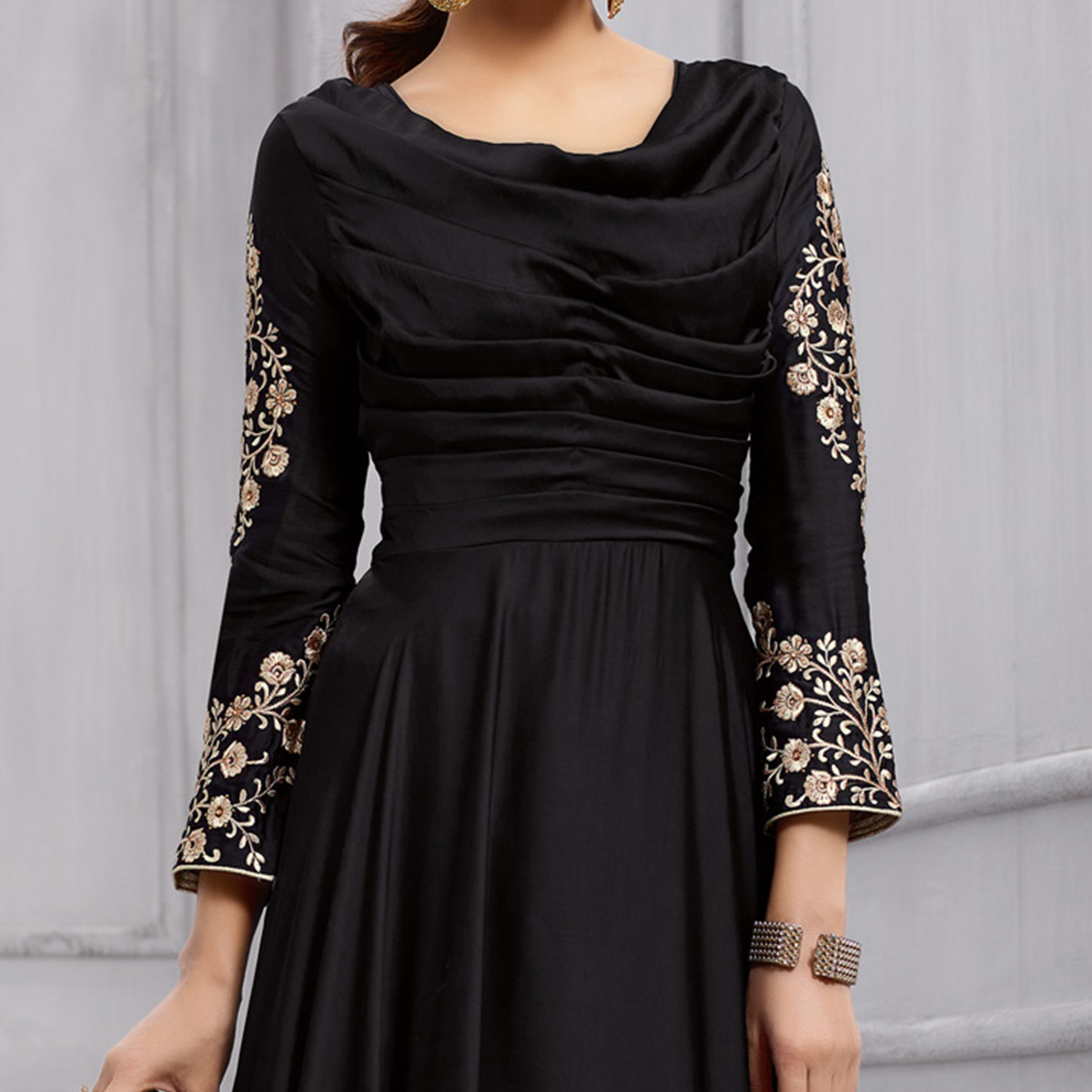 Ravishing Black Colored Heavy Embroidered Work party Wear Silk Anarkali Suit
