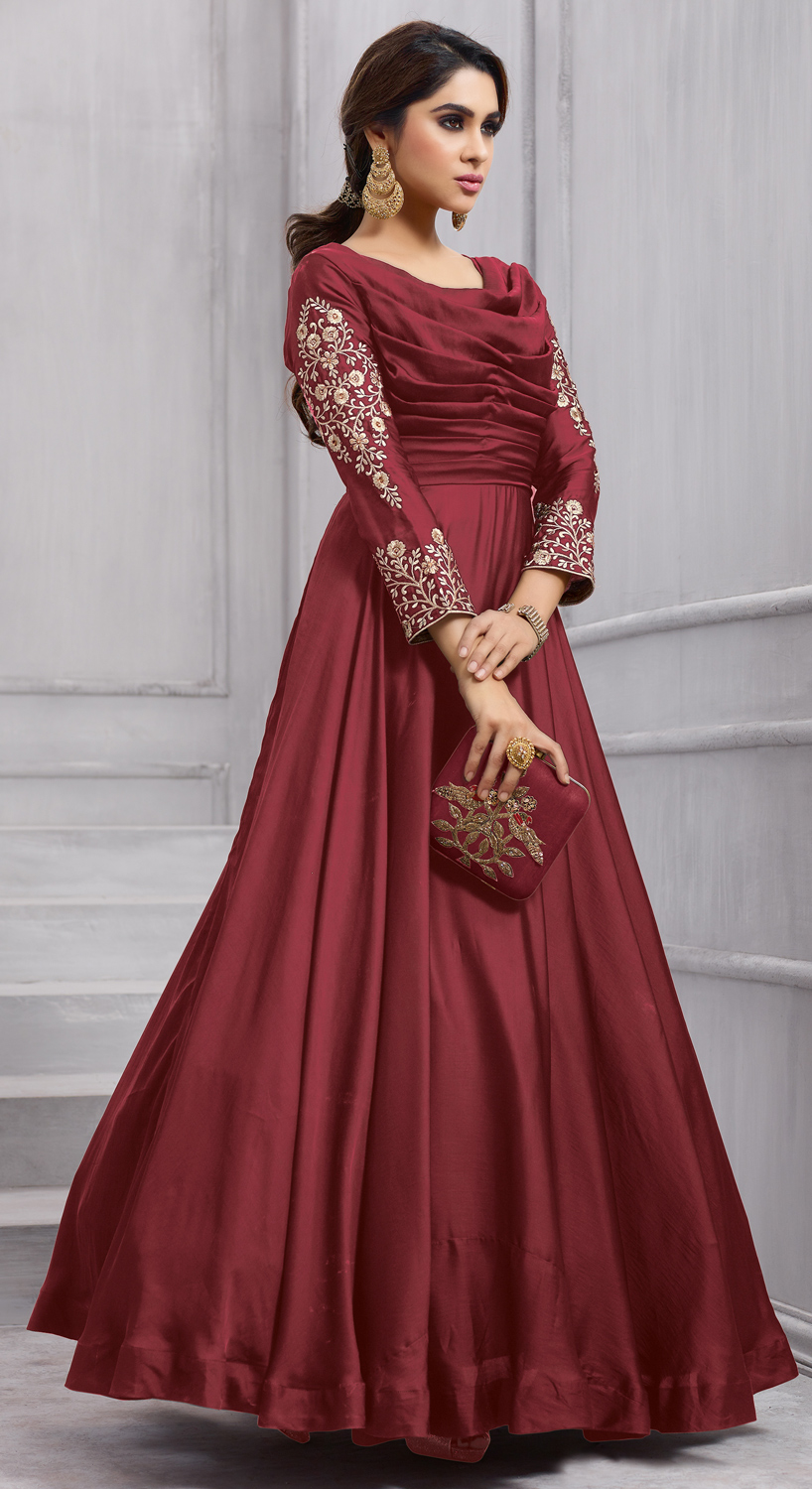 Delightful Maroon Colored Heavy Embroidered Work party Wear Silk Anarkali Suit