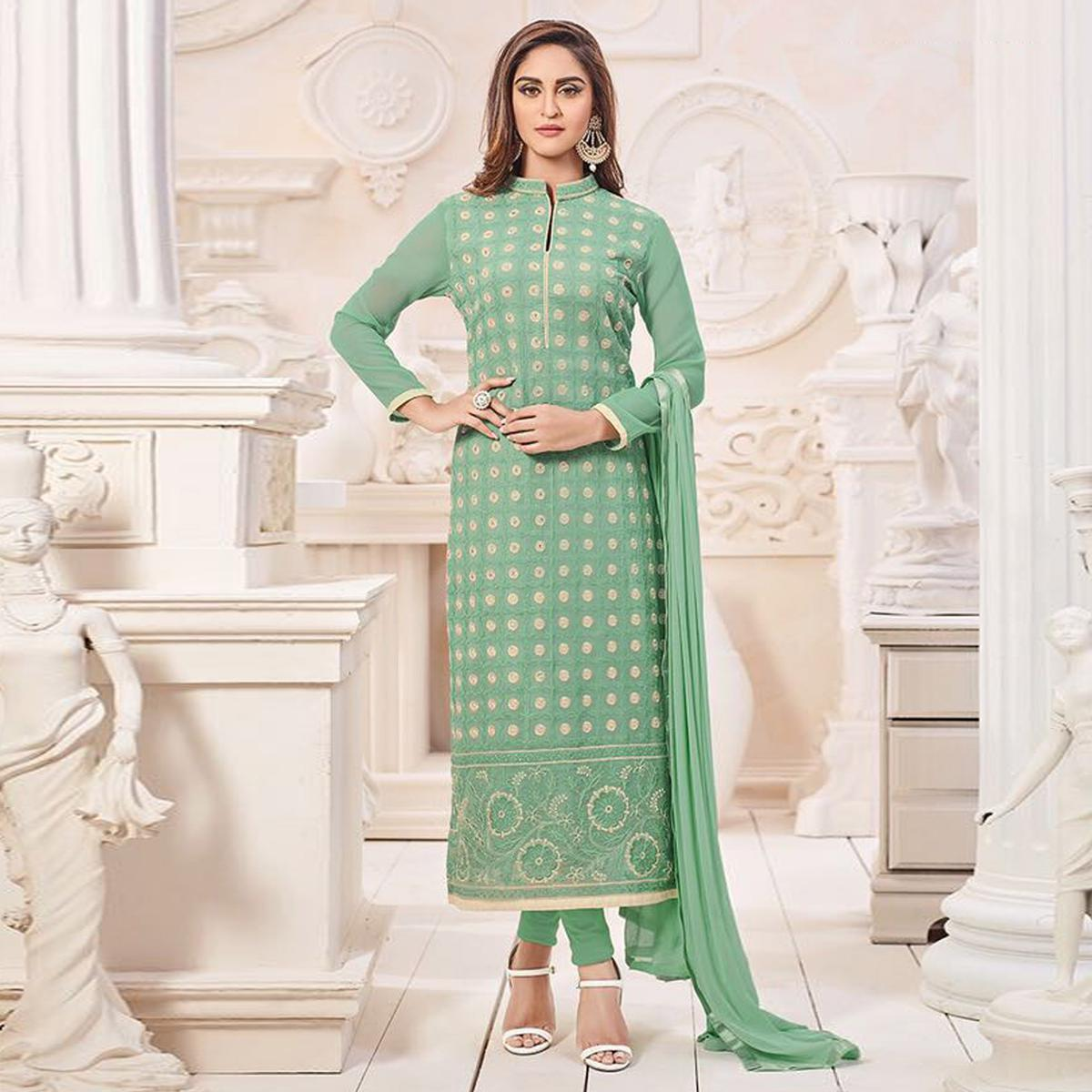 Beautiful Green Designer Georgette Embroidered Churidar Suit