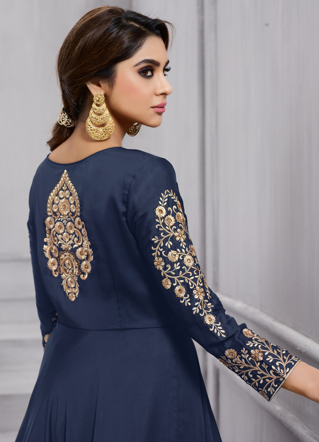 Stunning Navy Blue Colored Heavy Embroidered Work party Wear Silk Anarkali Suit