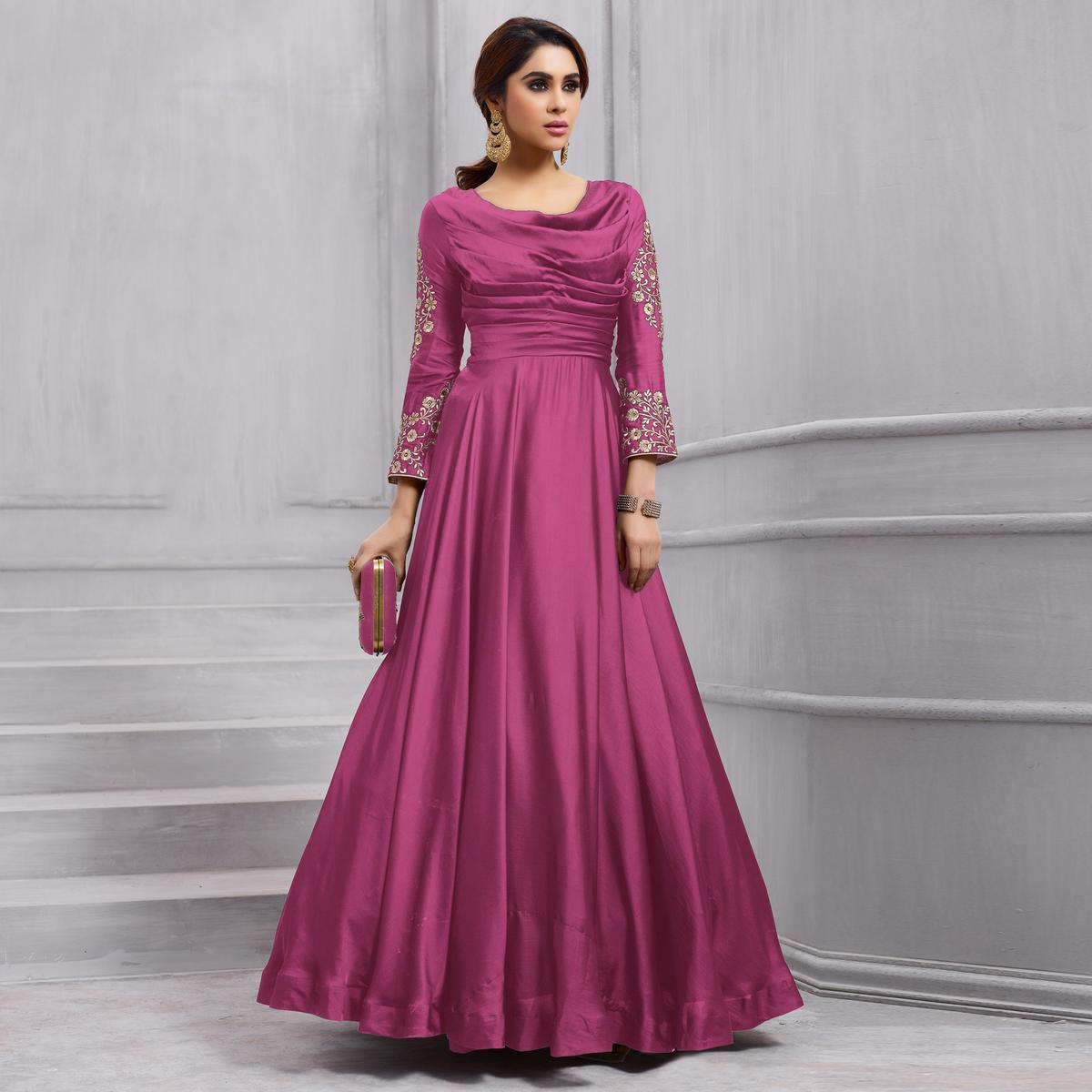 Blooming Pink Colored Heavy Embroidered Work party Wear Silk Anarkali Suit