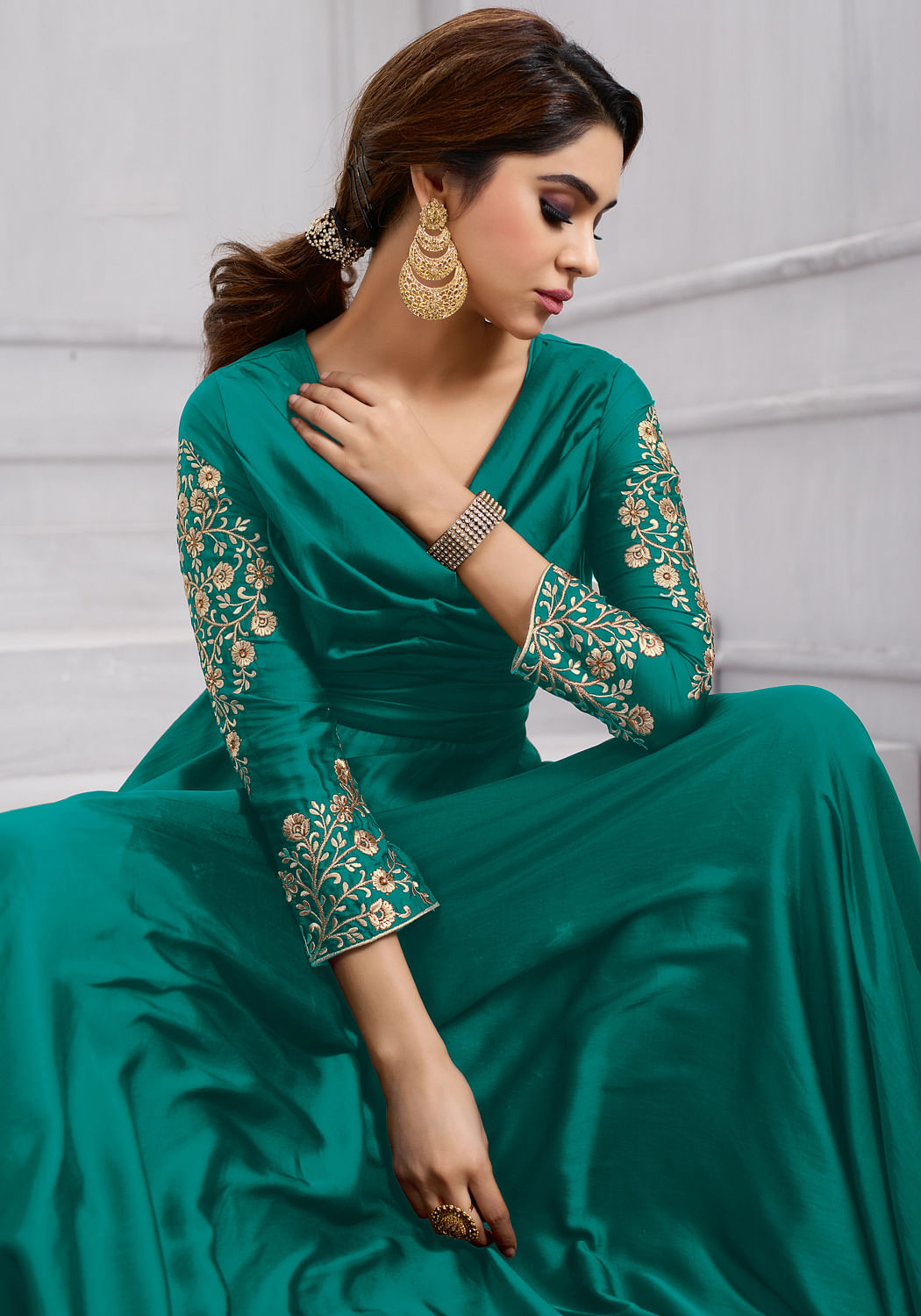 Marvellous Green Colored Heavy Embroidered Work party Wear Silk Anarkali Suit