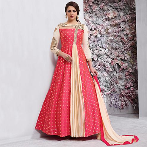Ravishing Red Colored Embroidered Work Party Wear Tapeta Silk Anarkali Suit