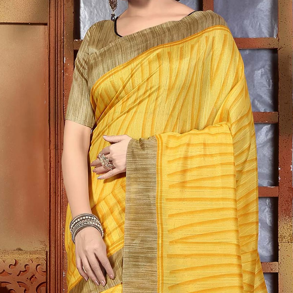 Yellow Casual Wear Saree