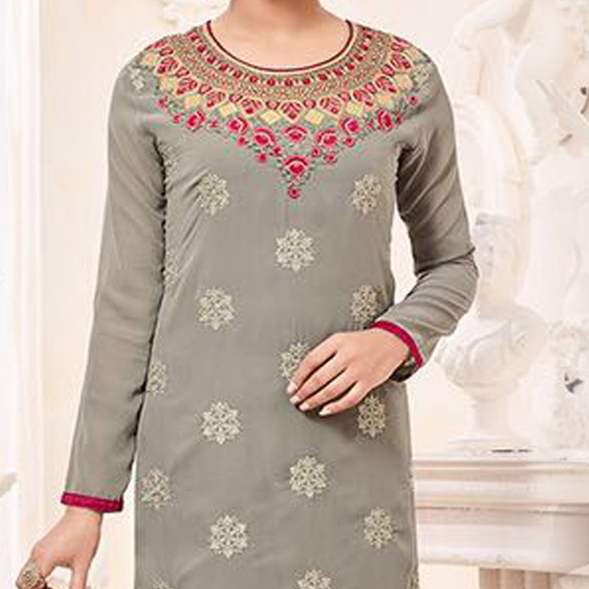 Classy Gray Designer Georgette Embroidered Churidar Suit