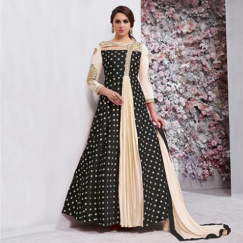 Delightful Black Colored Embroidered Work Party Wear Tapeta Silk Anarkali Suit