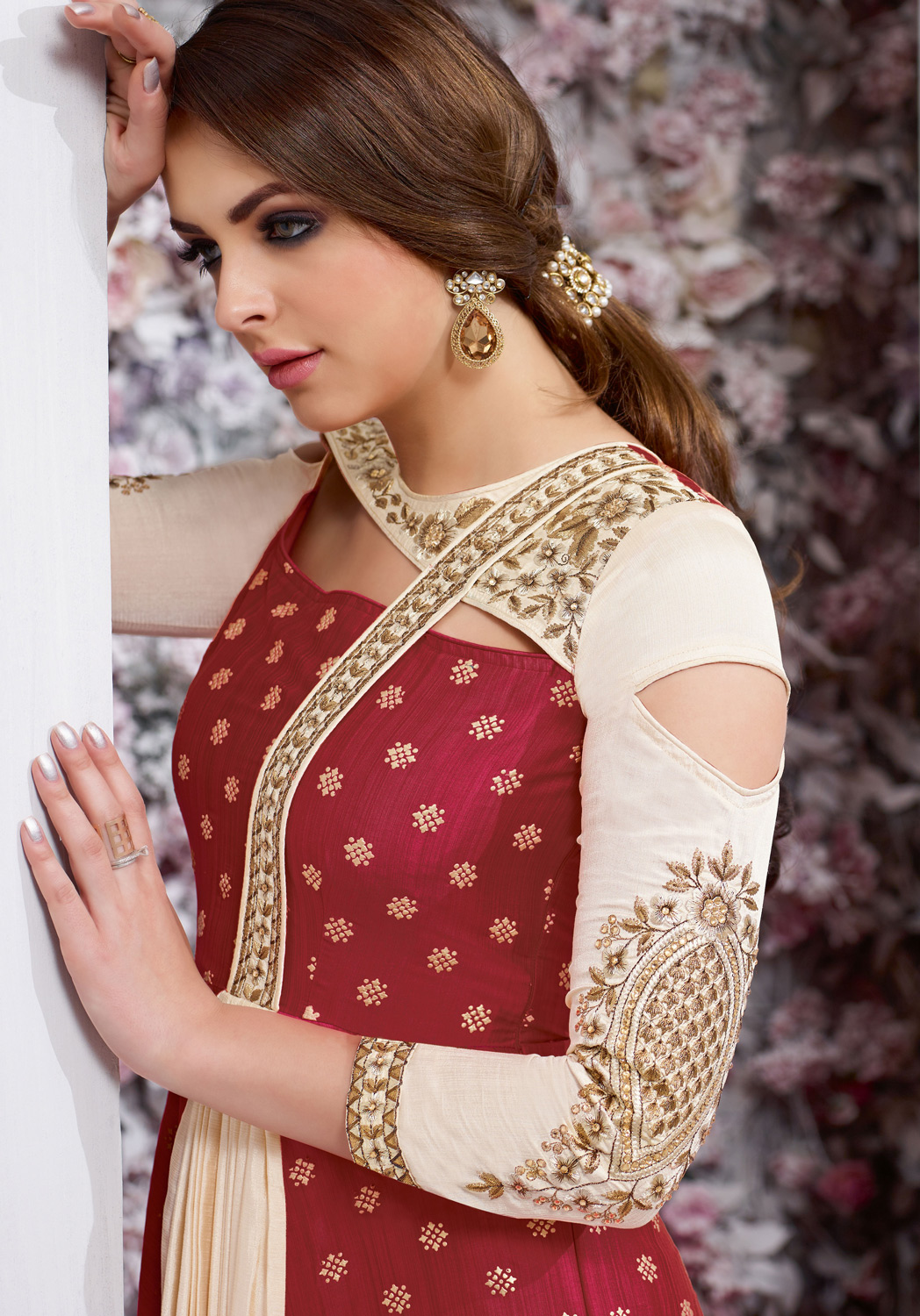 Stunning Maroon Colored Embroidered Work Party Wear Tapeta Silk Anarkali Suit