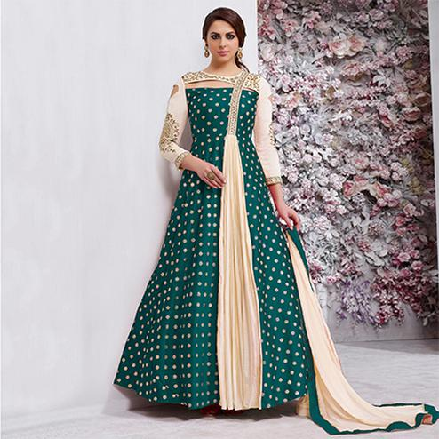 Blooming Rama Green Colored Embroidered Work Party Wear Tapeta Silk Anarkali Suit