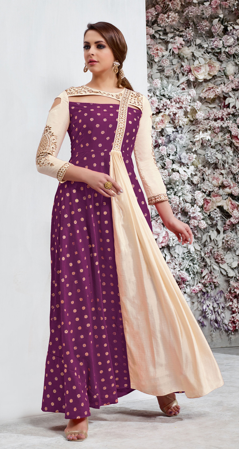 Marvellous Purple Colored Embroidered Work Party Wear Tapeta Silk Anarkali Suit