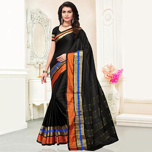 Preferable Black Colored Festive Wear Woven Cotton Silk Saree