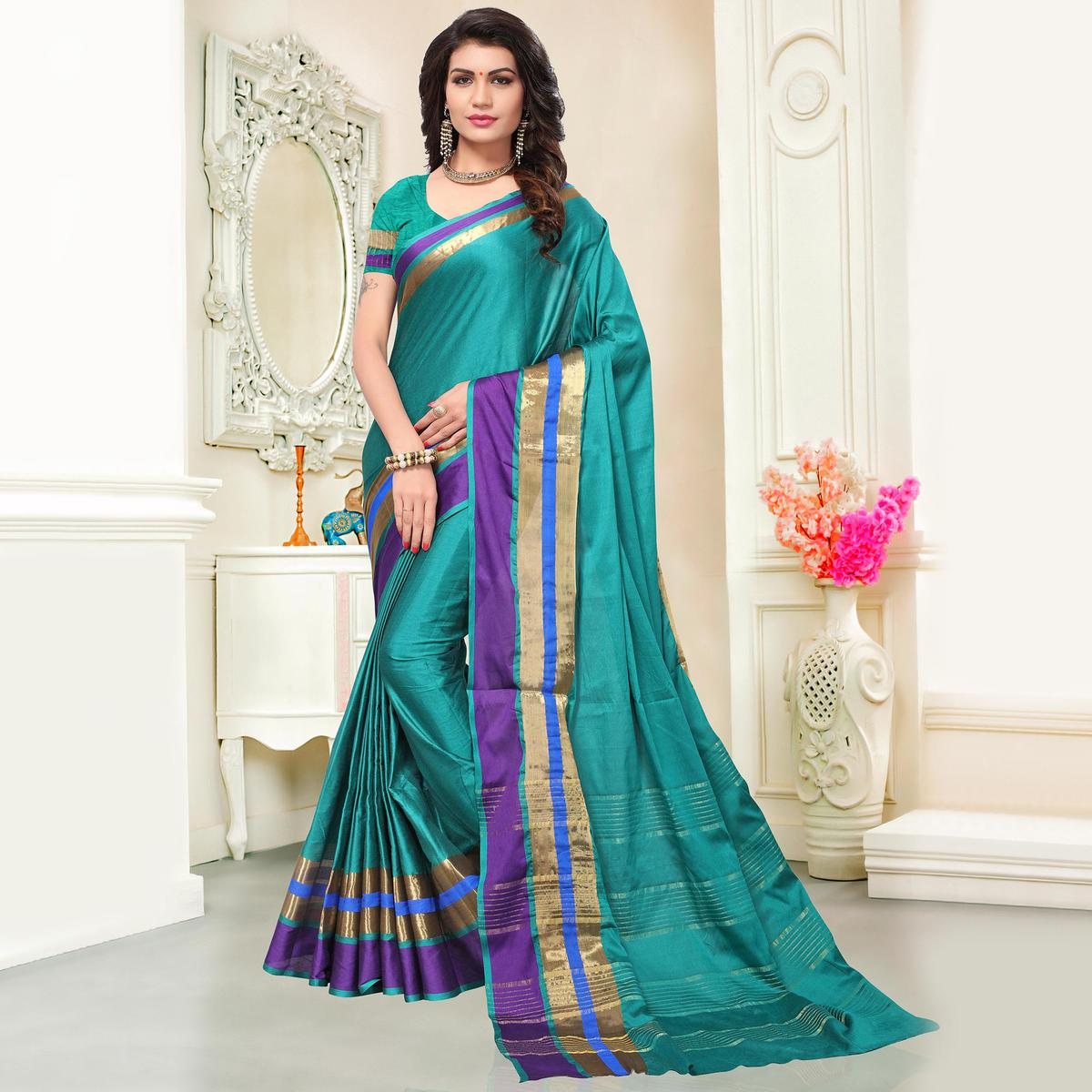 Prominent Turquoise  Colored Festive Wear Woven Cotton Silk Saree