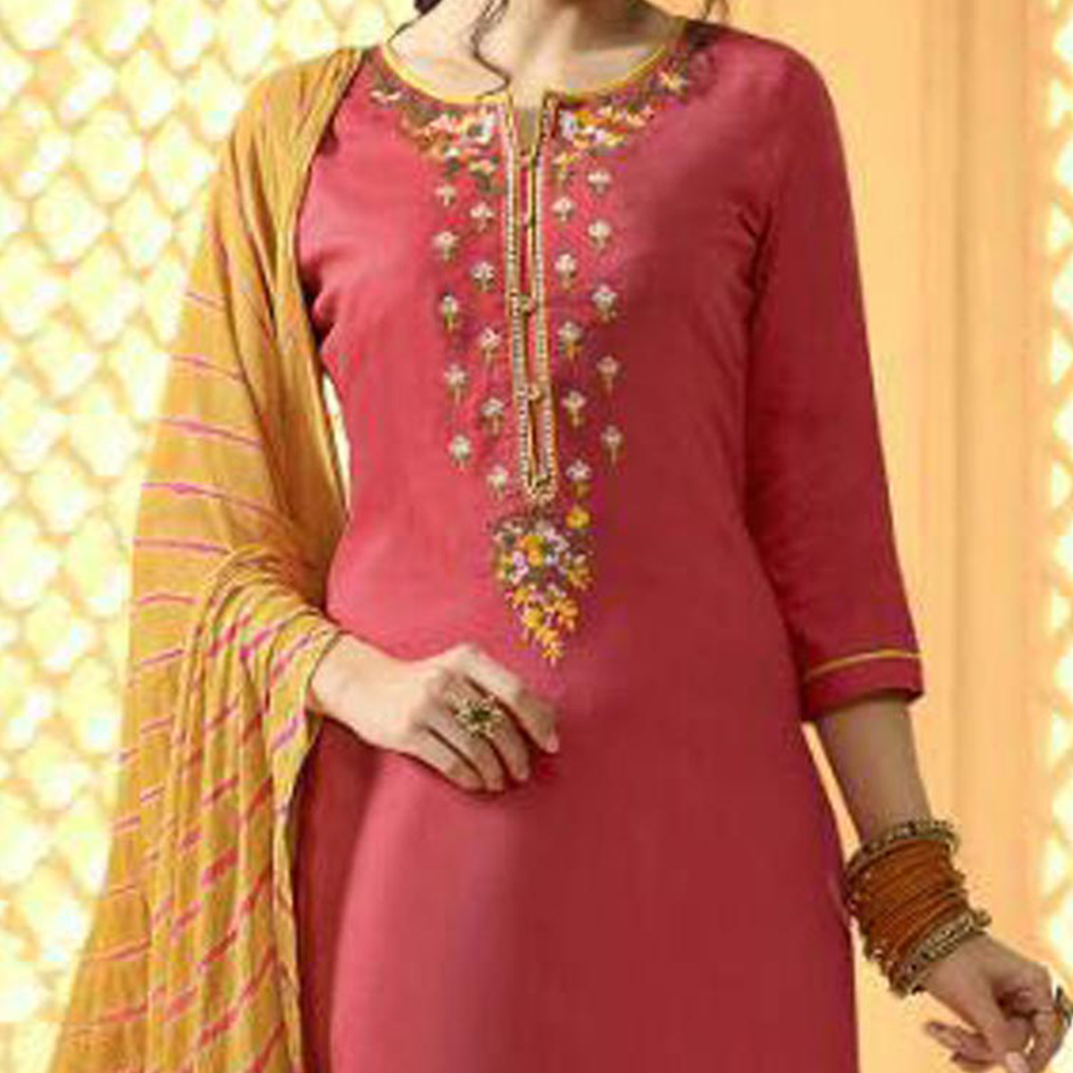 Beautiful Pink And Yellow Cotton Jacquard Embroidered Dress Material