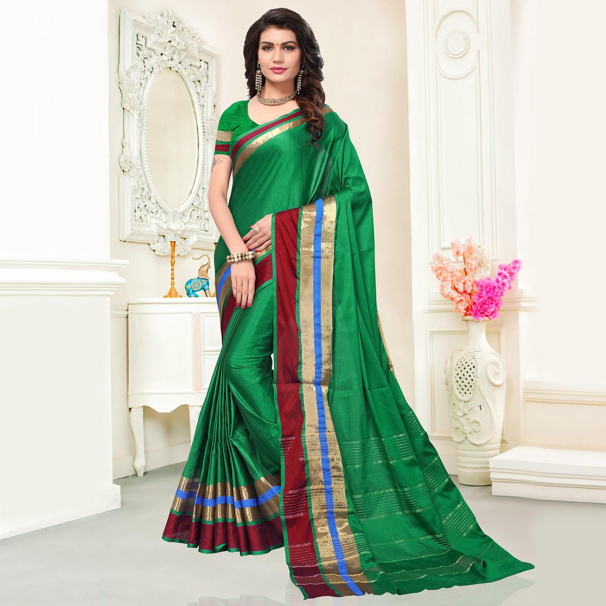 Deserving Green Colored Festive Wear Woven Cotton Silk Saree