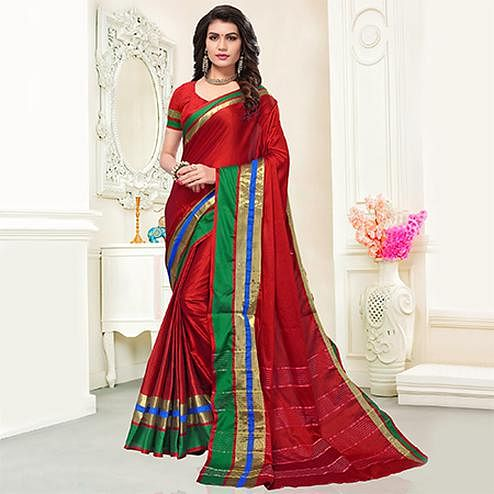 Extraordinary Red Colored Festive Wear Woven Cotton Silk Saree