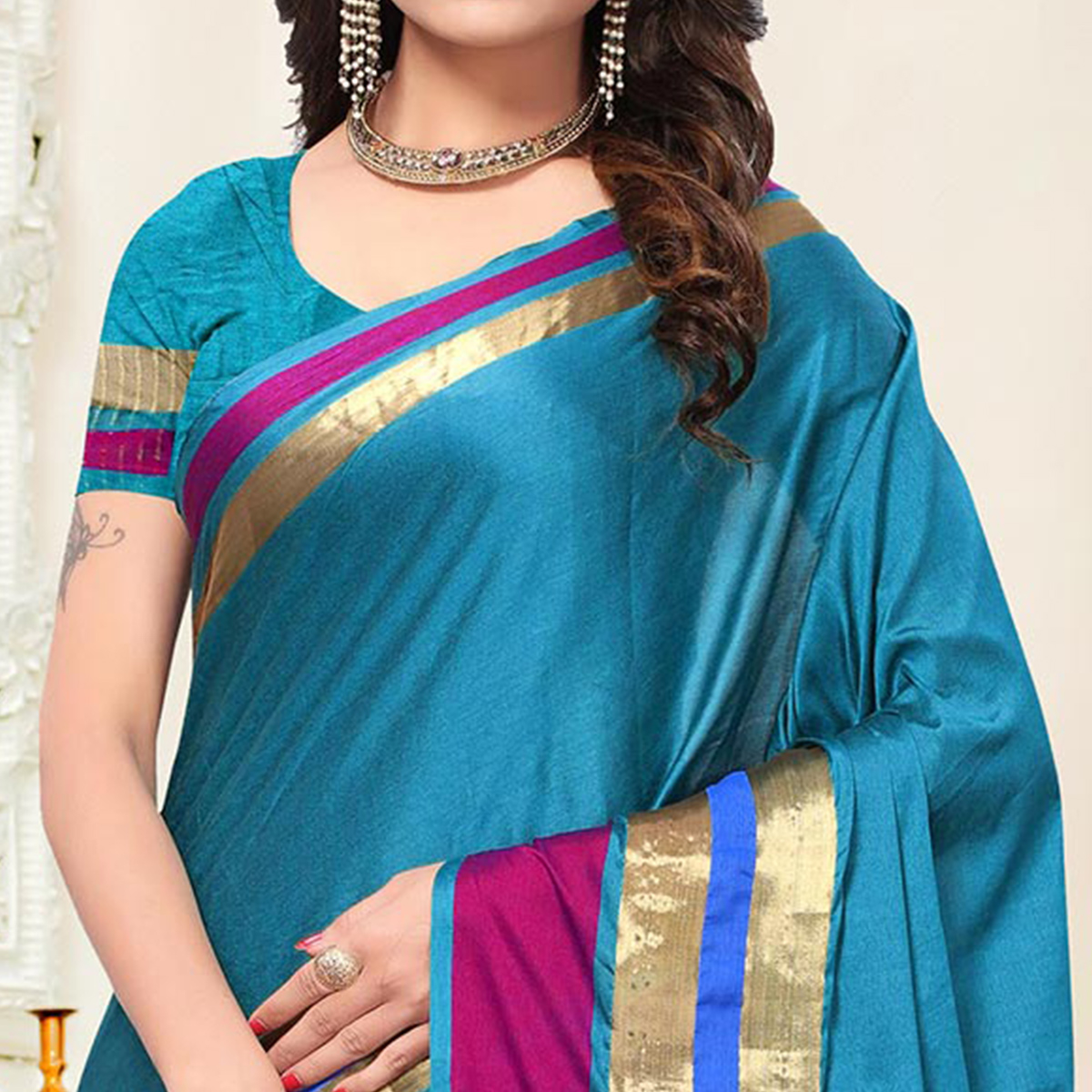Energetic Blue Turquoise  Colored Festive Wear Woven Cotton Silk Saree