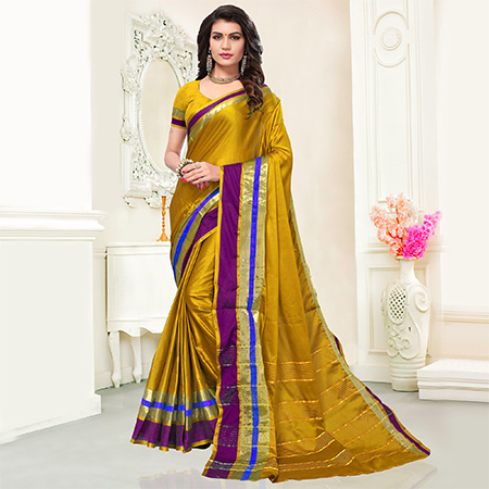 Glowing Mustard Yellow Colored Festive Wear Woven Cotton Silk Saree