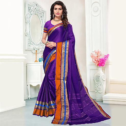 Snazzy Purple Colored Festive Wear Woven Cotton Silk Saree