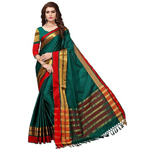 Charming Green Colored Festive Wear Cotton Silk Saree