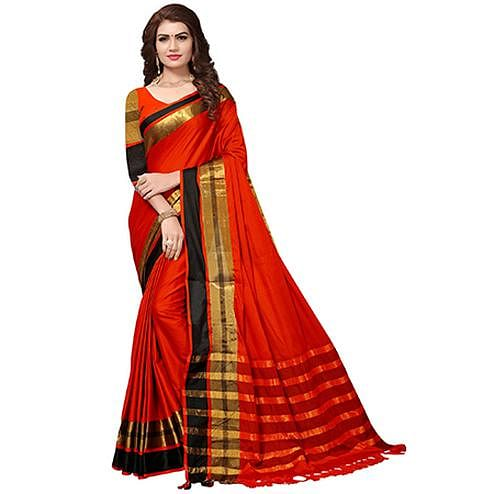 Ravishing Deep Red Colored Festive Wear Cotton Silk Saree