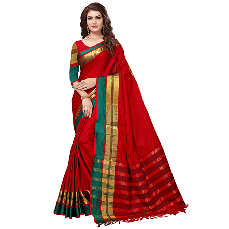 Delightful Red Colored Festive Wear Cotton Silk Saree