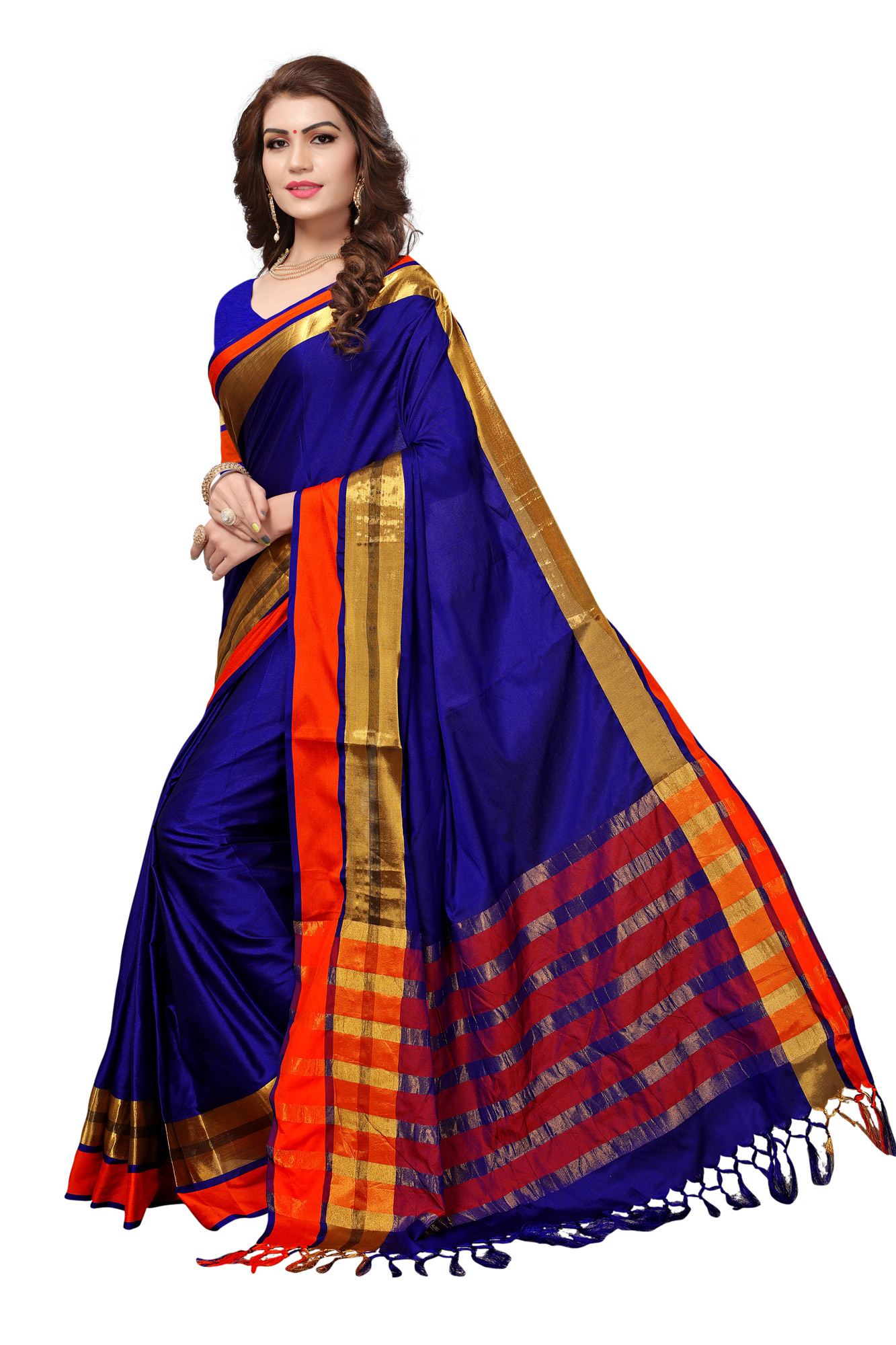 Stunning Royal Blue Colored Festive Wear Cotton Silk Saree