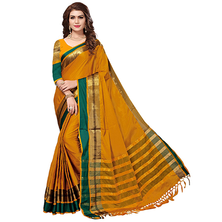 Blooming Mustard Yellow Colored Festive Wear Cotton Silk Saree