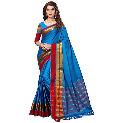 Marvellous Blue Colored Festive Wear Cotton Silk Saree