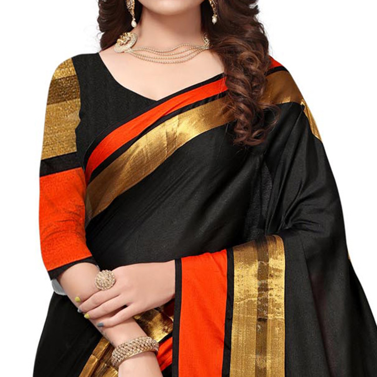 Mesmerising Black Colored Festive Wear Cotton Silk Saree