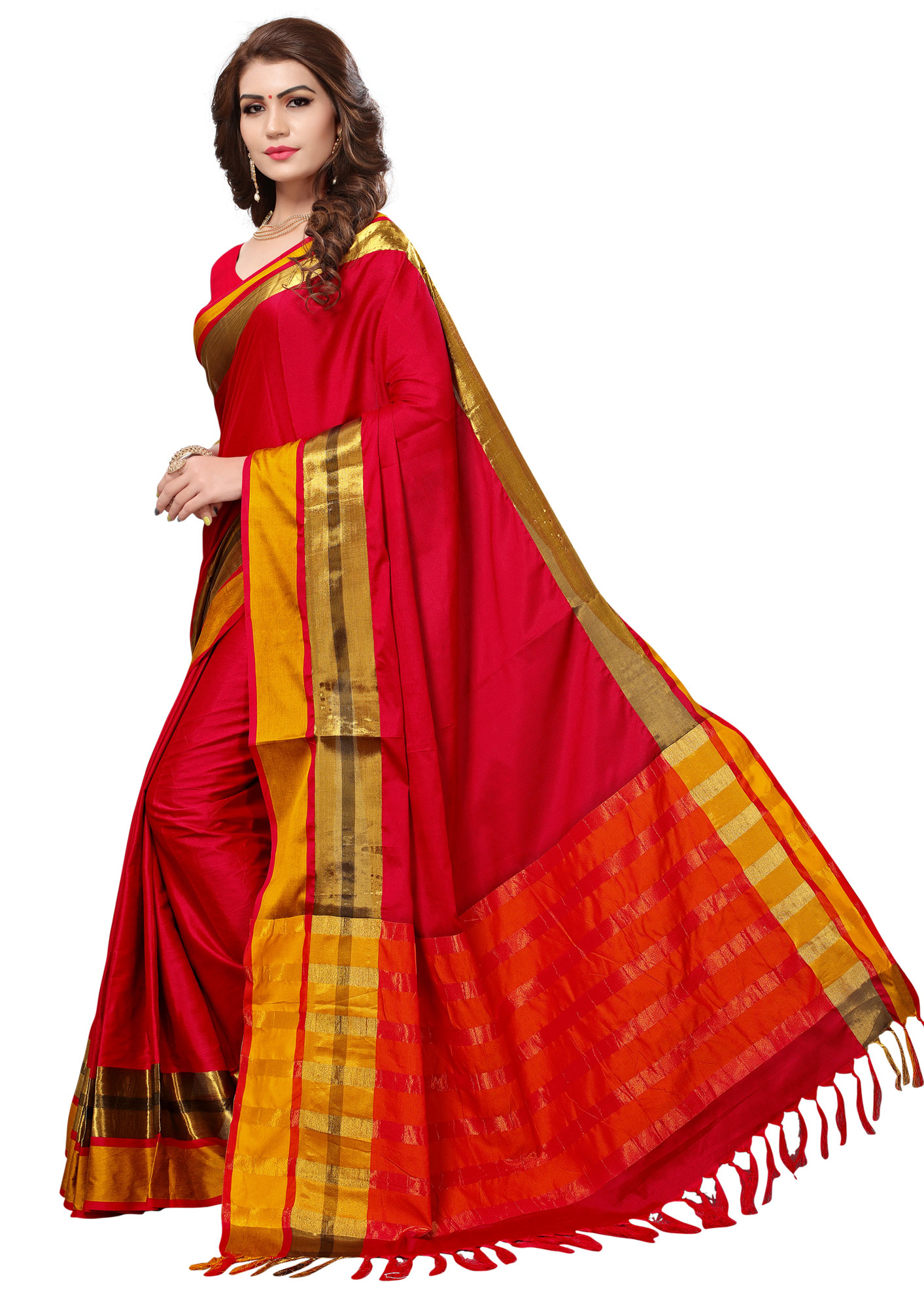 Ravishing Red Colored Festive Wear Cotton Silk Saree