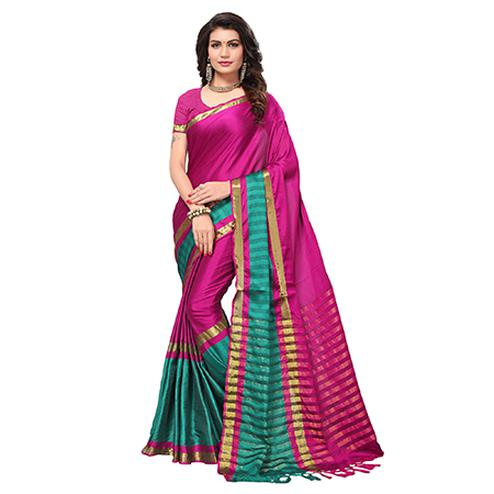 Ravishing Magenta  Colored Festive Wear Cotton Silk Saree