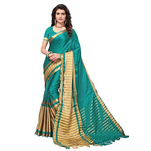 Delightful Rama Green Colored Festive Wear Cotton Silk Saree