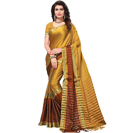 Stunning Golden Colored Festive Wear Cotton Silk Saree