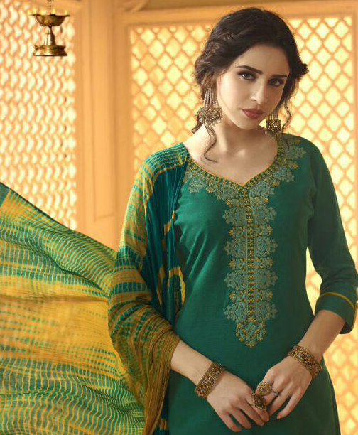 Spectacular Green And Yellow Cotton Jacquard Embroidered Dress Material