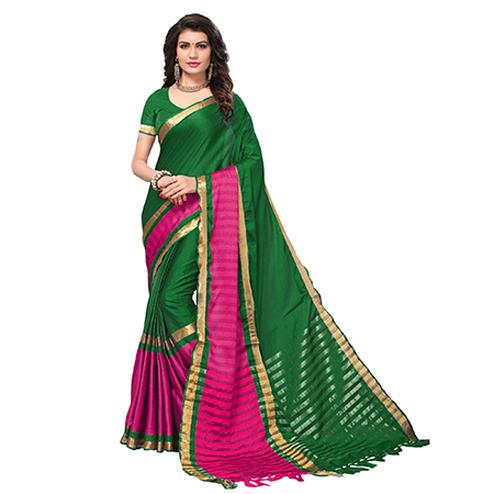 Blooming Dark Green Colored Festive Wear Cotton Silk Saree