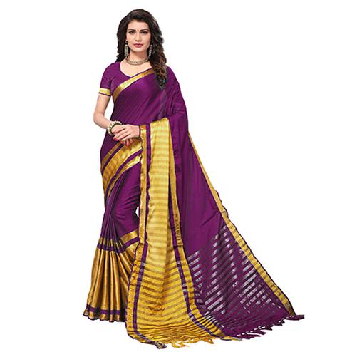 Marvellous Purple Colored Festive Wear Cotton Silk Saree