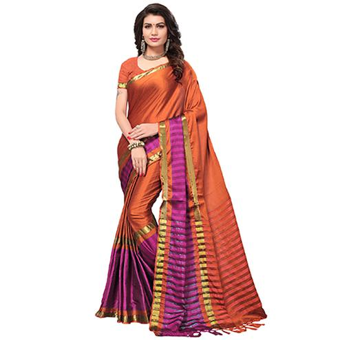 Ravishing Dark Orange Colored Festive Wear Cotton Silk Saree