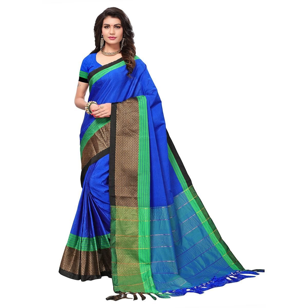Gorgeous Royal Blue Colored Festive Wear Woven Cotton Silk Saree