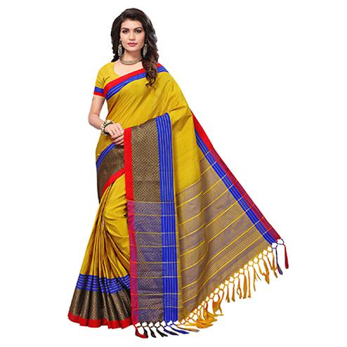 Adorable Mustard Yellow Colored Festive Wear Woven Cotton Silk Saree