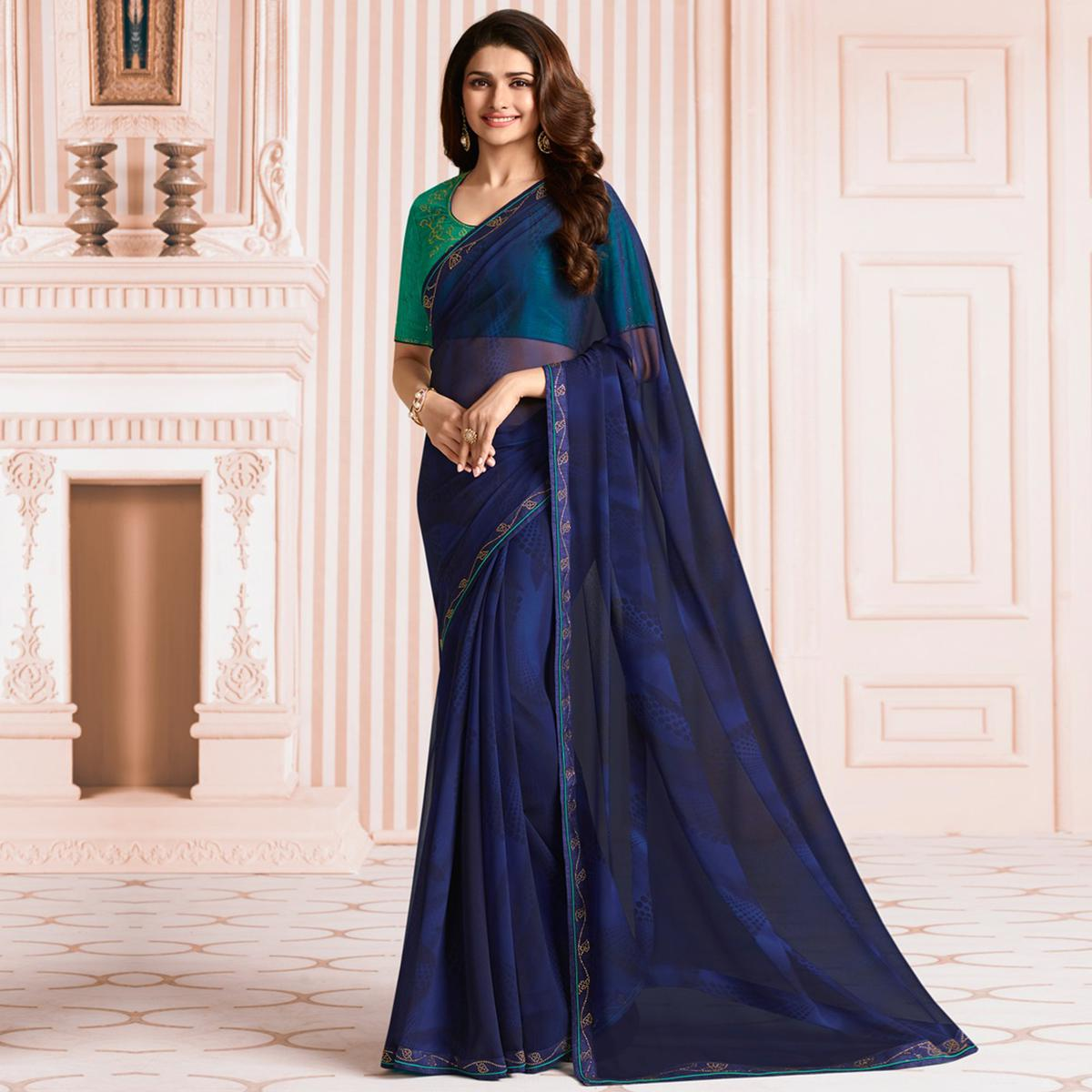 Classy Navy Blue Green Colored Party Wear Designer Georgette Saree