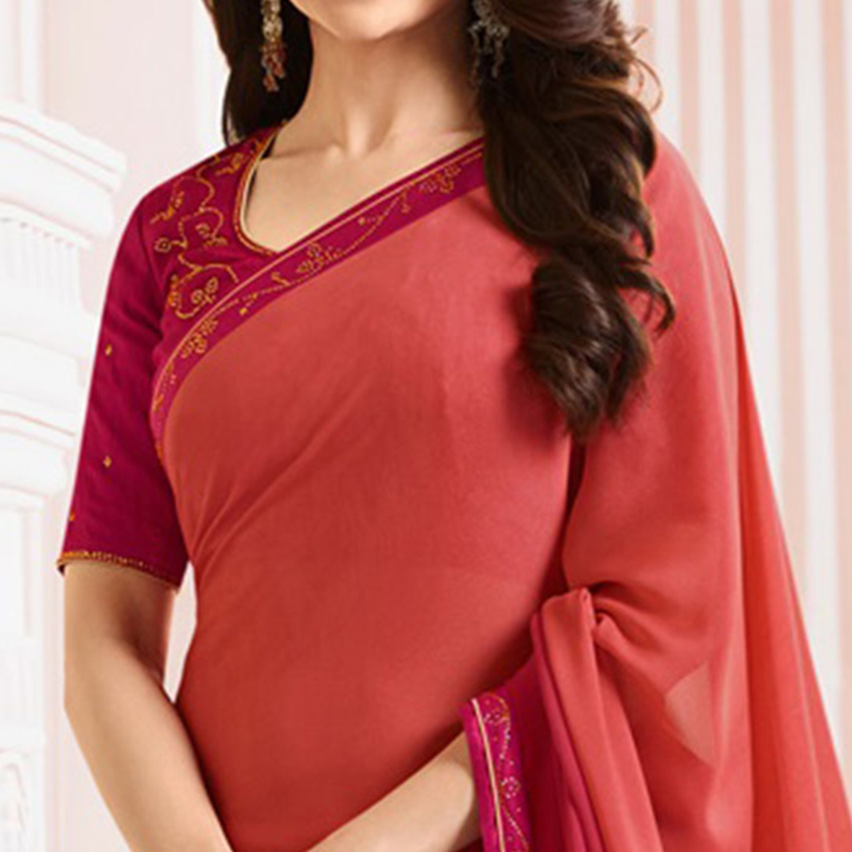 Glorious Red Colored Party Wear Designer Silk Saree