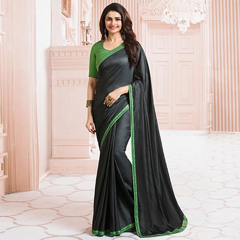 Graceful Black Colored Party Wear Designer Silk Saree