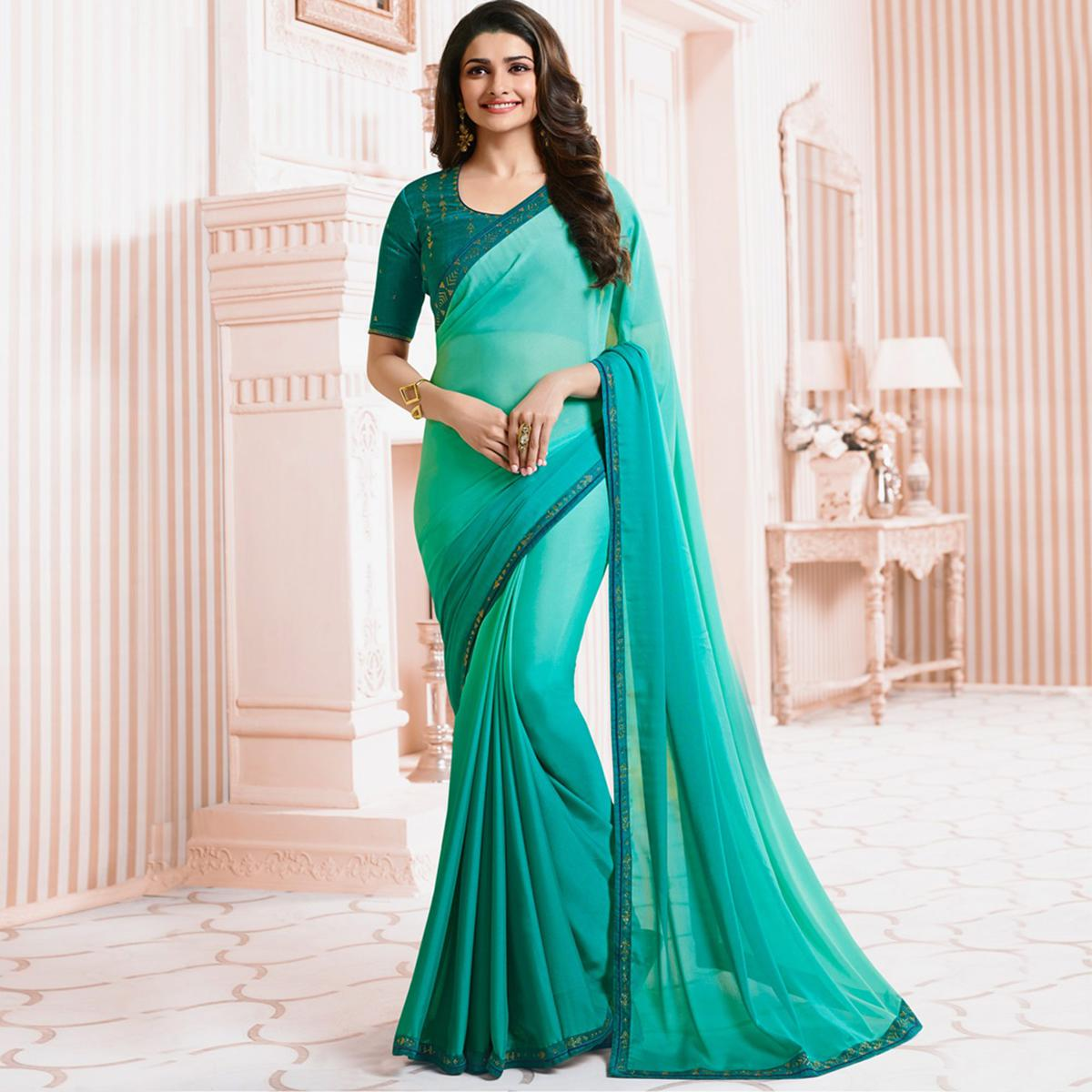 Pretty Sky Blue Colored Party Wear Designer Silk Saree