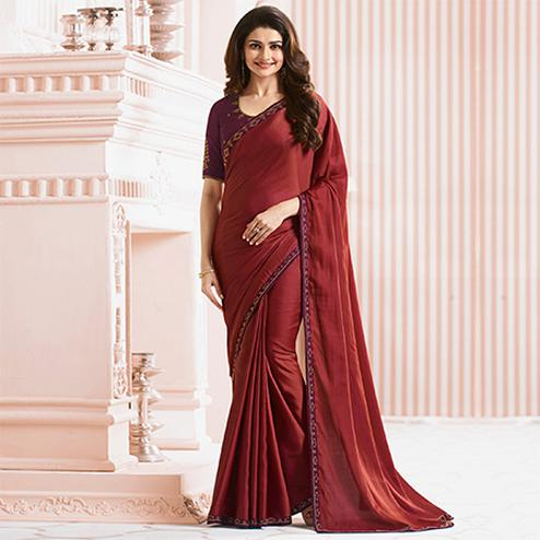 Charming Maroon Colored Party Wear Designer Sana Silk Saree