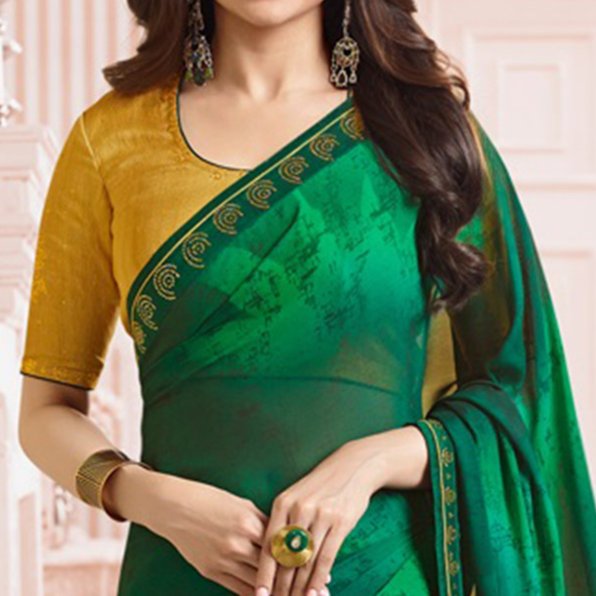 Ravishing Dark Green Colored Party Wear Designer Silk Saree