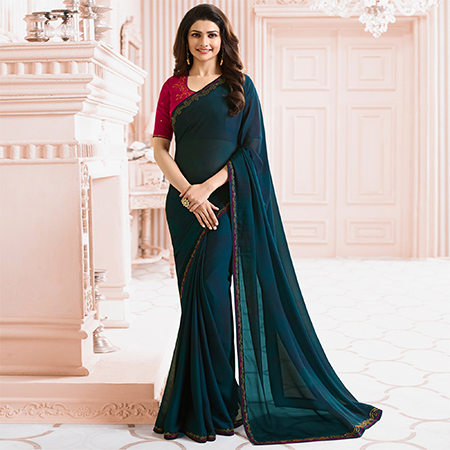 Delightful Blue Colored Party Wear Designer Silk Saree
