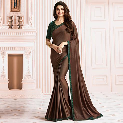 Stunning Brown Colored Party Wear Designer Sana Silk Saree