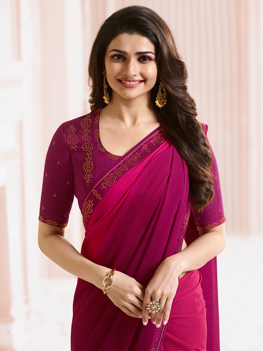 Blooming Pink Colored Party Wear Designer Silk Saree