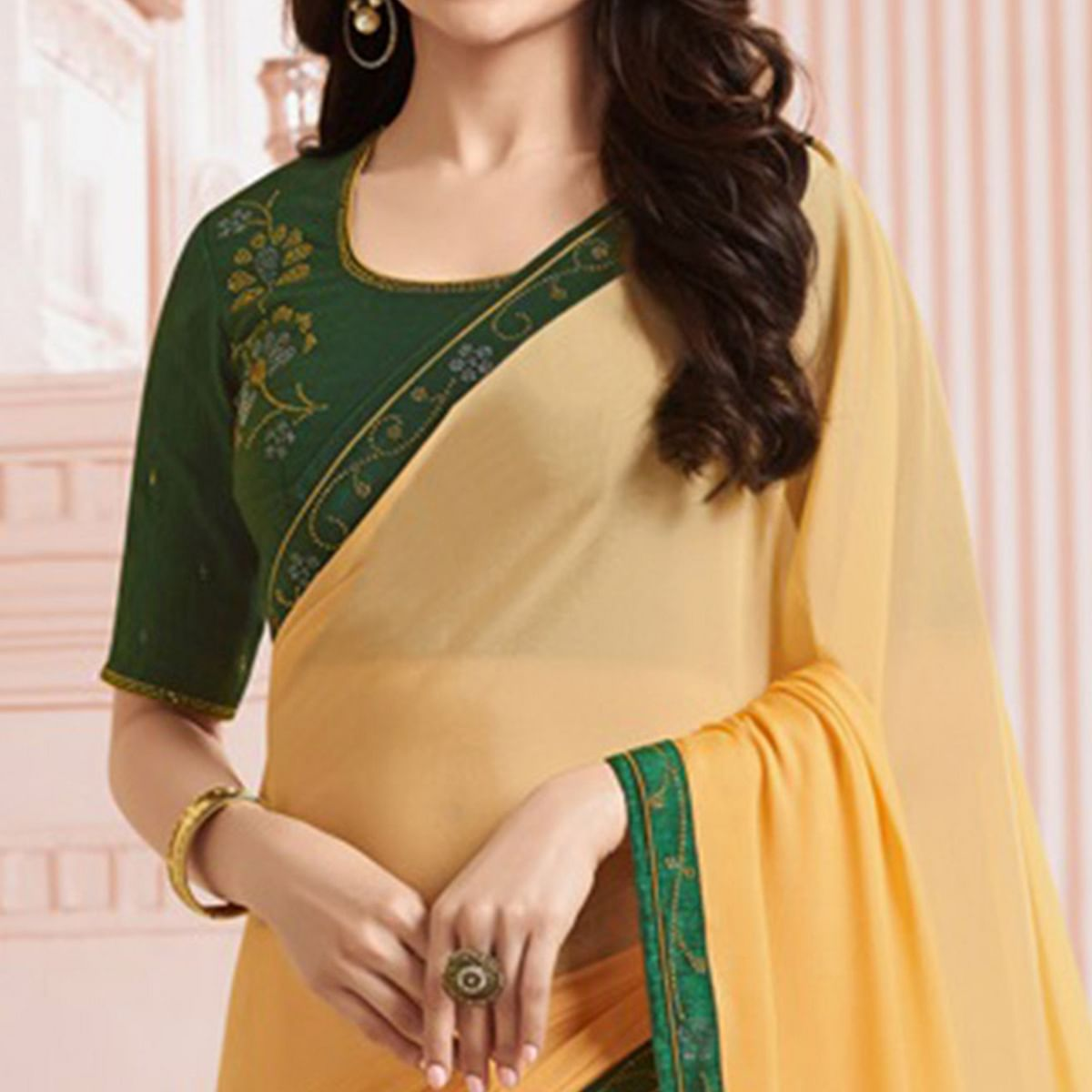 Marvellous Yellow Colored Party Wear Designer Silk Saree
