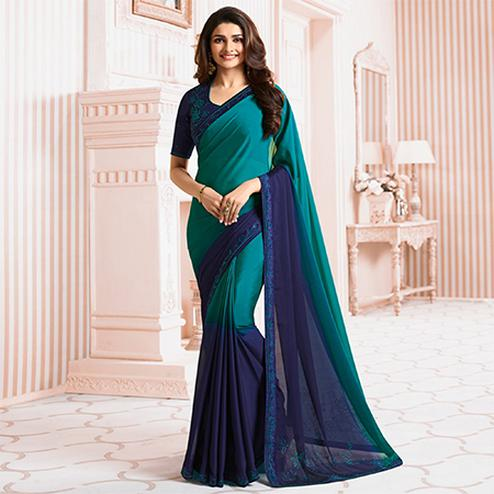 Ravishing Blue Colored Party Wear Designer Silk Saree