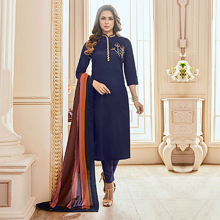 Arresting Navy Blue Colored Partywear Hand Embroidered Cotton Suit